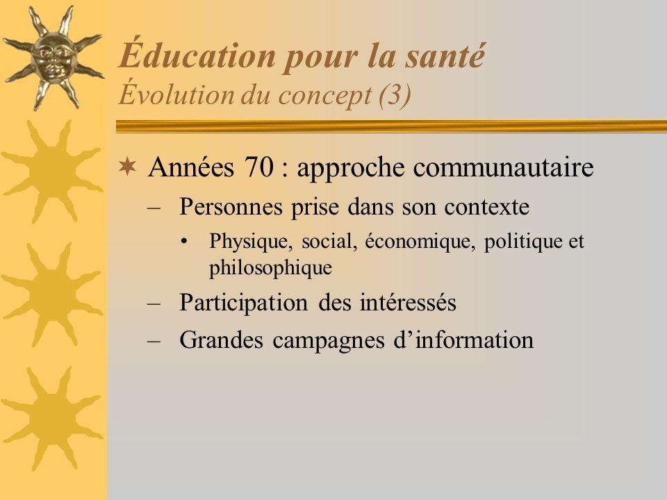 Éducation pour la santé Évolution du concept (3) Années 70 : approche communautaire –Personnes prise dans son contexte Physique, social, économique, p
