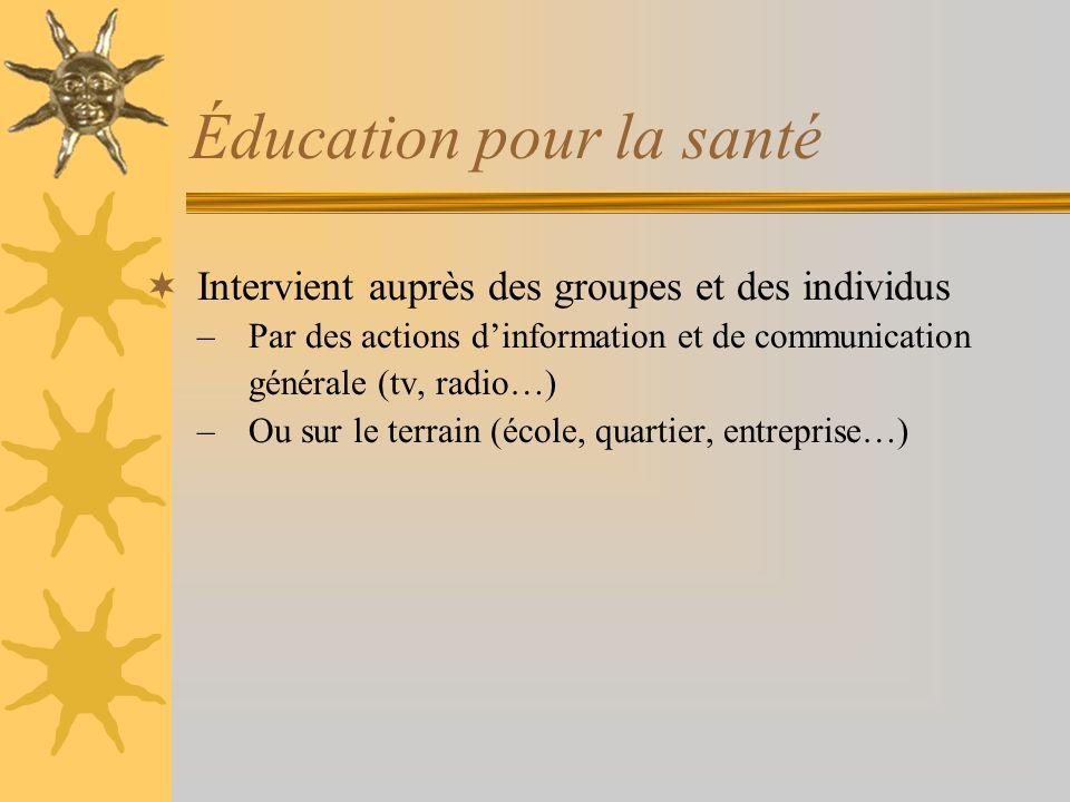 Éducation pour la santé Intervient auprès des groupes et des individus –Par des actions dinformation et de communication générale (tv, radio…) –Ou sur