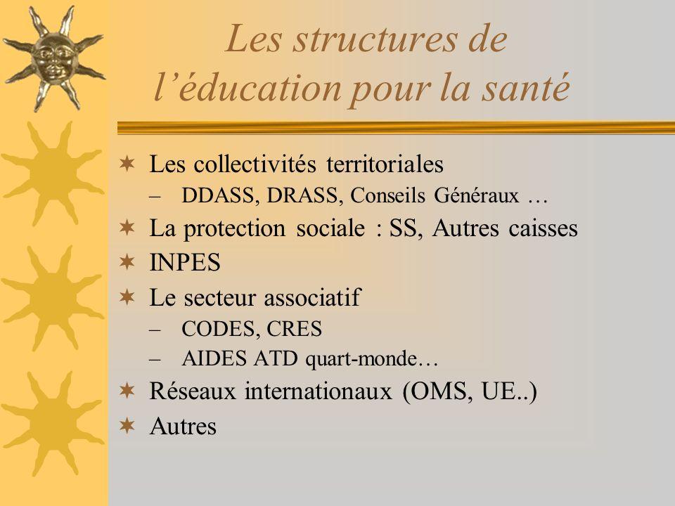 Les structures de léducation pour la santé Les collectivités territoriales –DDASS, DRASS, Conseils Généraux … La protection sociale : SS, Autres caiss