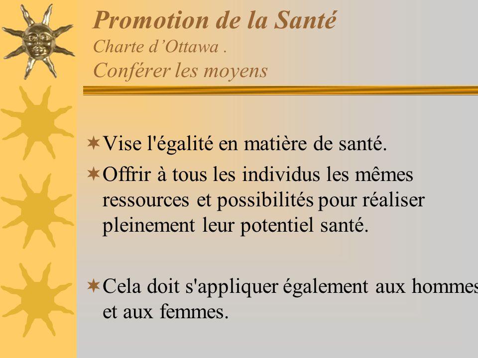 Promotion de la Santé Charte dOttawa. Conférer les moyens Vise l'égalité en matière de santé. Offrir à tous les individus les mêmes ressources et poss