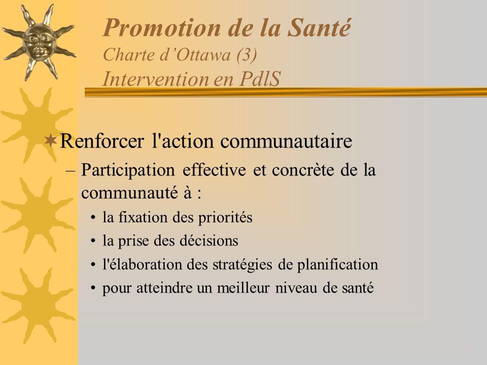 Promotion de la Santé Charte dOttawa (3) Intervention en PdlS Renforcer l'action communautaire –Participation effective et concrète de la communauté à