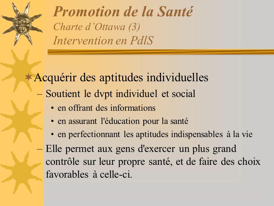 Promotion de la Santé Charte dOttawa (3) Intervention en PdlS Acquérir des aptitudes individuelles –Soutient le dvpt individuel et social en offrant d