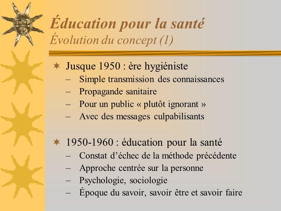 Éducation pour la santé Évolution du concept (1) Jusque 1950 : ère hygiéniste –Simple transmission des connaissances –Propagande sanitaire –Pour un pu