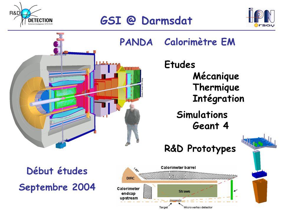 GSI @ Darmsdat Début études Septembre 2004 PANDACalorimètre EM Etudes Mécanique Thermique Intégration Simulations Geant 4 R&D Prototypes