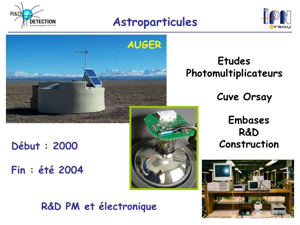 Astroparticules AUGER Embases R&D Construction Etudes Photomultiplicateurs Début : 2000 Fin : été 2004 R&D PM et électronique Cuve Orsay
