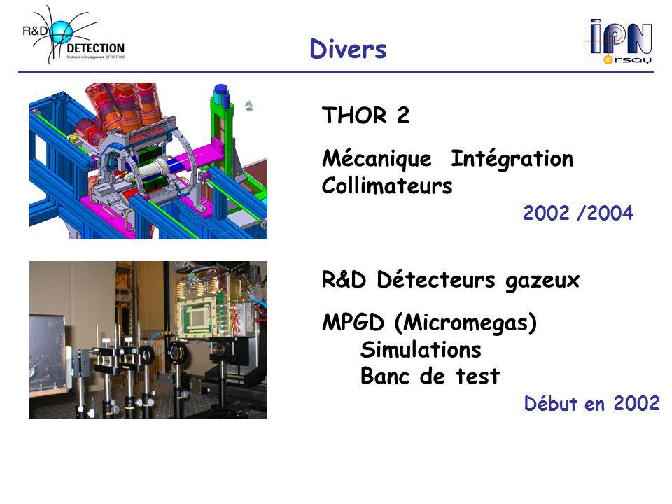 Divers THOR 2 Mécanique Intégration Collimateurs 2002 /2004 R&D Détecteurs gazeux MPGD (Micromegas) Simulations Banc de test Début en 2002