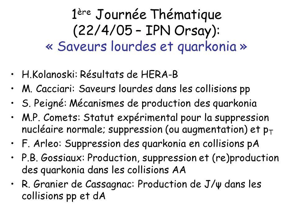 1 ère Journée Thématique (22/4/05 – IPN Orsay): « Saveurs lourdes et quarkonia » H.Kolanoski: Résultats de HERA-B M.