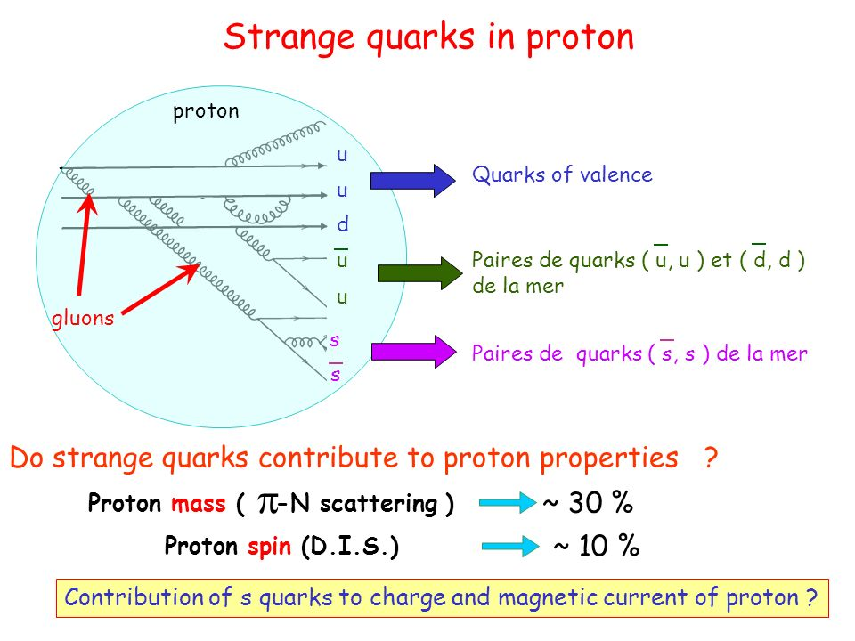 Strange quarks in proton proton gluons Paires de quarks ( u, u ) et ( d, d ) de la mer u u Paires de quarks ( s, s ) de la mer s s Quarks of valence u