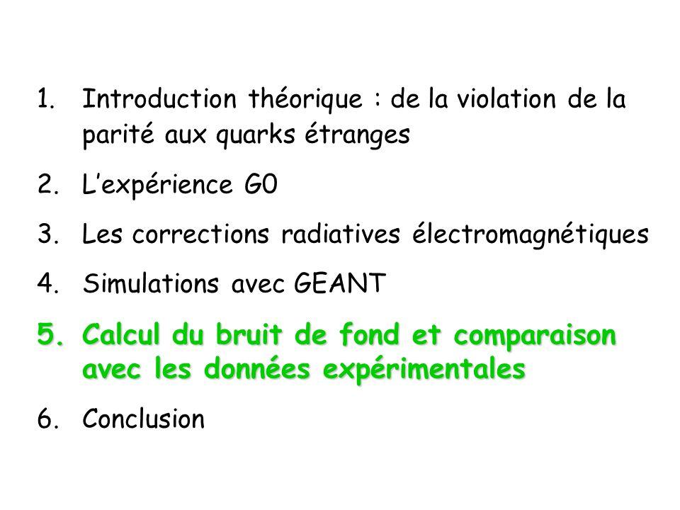 1.Introduction théorique : de la violation de la parité aux quarks étranges 2.Lexpérience G0 3.Les corrections radiatives électromagnétiques 4.Simulations avec GEANT 5.Calcul du bruit de fond et comparaison avec les données expérimentales 6.Conclusion