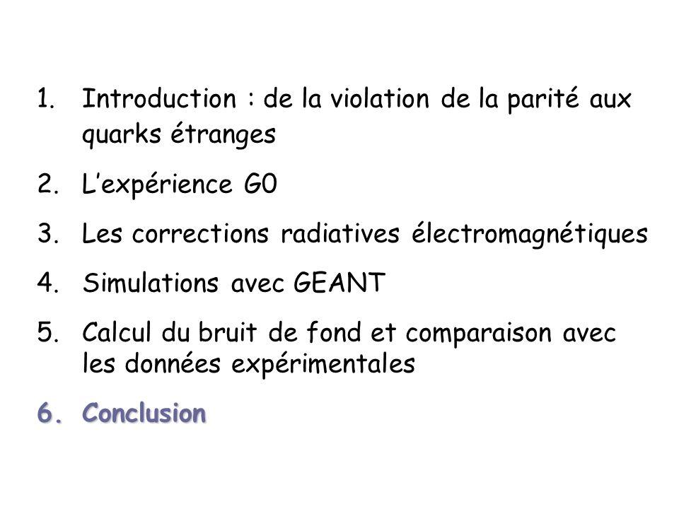 1.Introduction : de la violation de la parité aux quarks étranges 2.Lexpérience G0 3.Les corrections radiatives électromagnétiques 4.Simulations avec GEANT 5.Calcul du bruit de fond et comparaison avec les données expérimentales 6.Conclusion