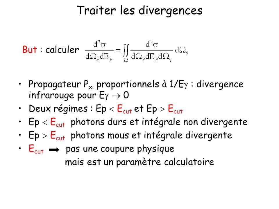 Traiter les divergences Propagateur P xi proportionnels à 1/E : divergence infrarouge pour E 0 Deux régimes : Ep E cut et Ep E cut Ep E cut photons du