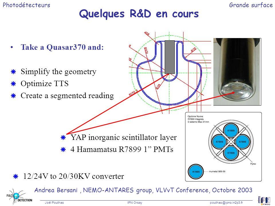 Photodétecteurs Joël Pouthas IPN Orsaypouthas @ipno.in2p3.fr Grande surface Quelques R&D en cours Andrea Bersani, NEMO-ANTARES group, VLVvT Conference