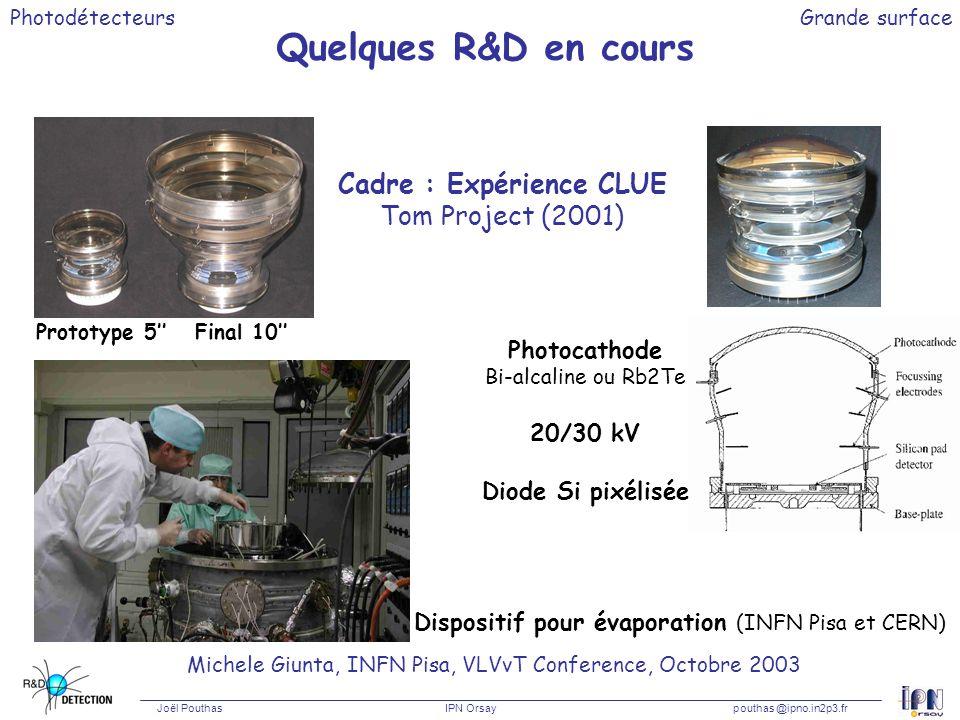 Photodétecteurs Joël Pouthas IPN Orsaypouthas @ipno.in2p3.fr Grande surface Quelques R&D en cours Michele Giunta, INFN Pisa, VLVvT Conference, Octobre