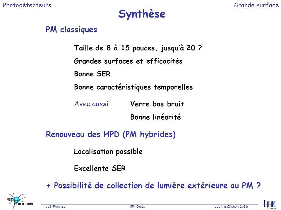 Photodétecteurs Joël Pouthas IPN Orsaypouthas @ipno.in2p3.fr Grande surface Synthèse PM classiques Taille de 8 à 15 pouces, jusquà 20 ? Grandes surfac