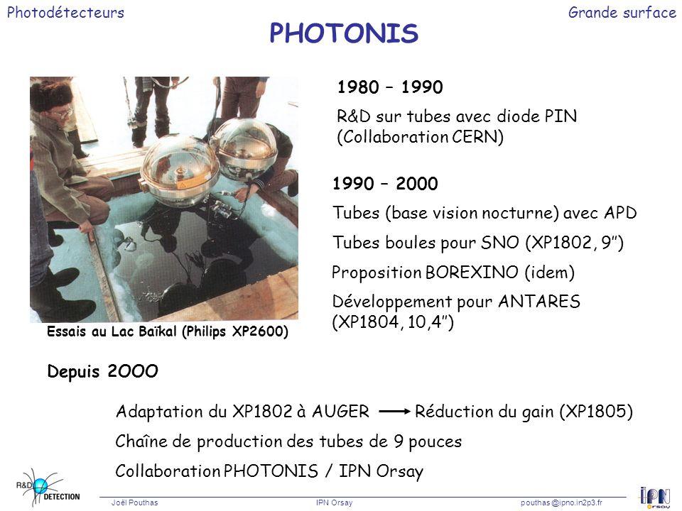 Photodétecteurs Joël Pouthas IPN Orsaypouthas @ipno.in2p3.fr Grande surface PHOTONIS Essais au Lac Baïkal (Philips XP2600) 1980 – 1990 R&D sur tubes a