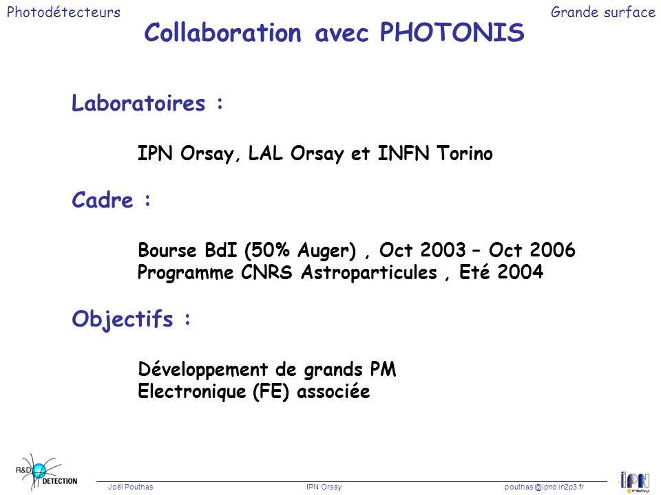 Photodétecteurs Joël Pouthas IPN Orsaypouthas @ipno.in2p3.fr Grande surface Collaboration avec PHOTONIS Laboratoires : IPN Orsay, LAL Orsay et INFN To