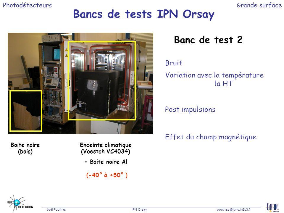 Photodétecteurs Joël Pouthas IPN Orsaypouthas @ipno.in2p3.fr Grande surface Bancs de tests IPN Orsay Banc de test 2 Bruit Variation avec la températur