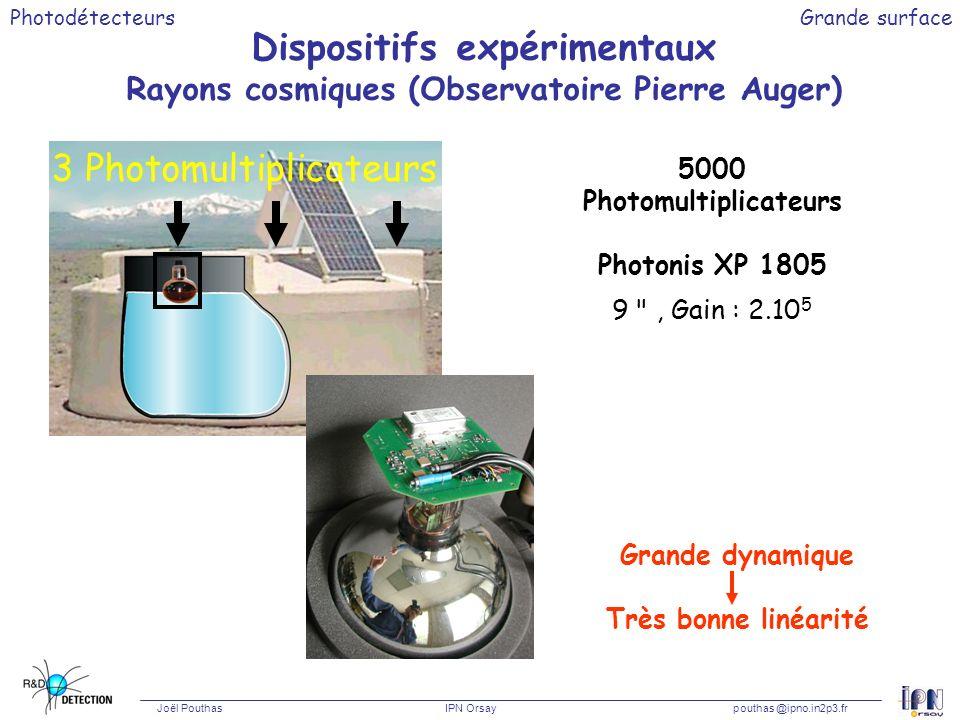 Photodétecteurs Joël Pouthas IPN Orsaypouthas @ipno.in2p3.fr Grande surface Dispositifs expérimentaux Rayons cosmiques (Observatoire Pierre Auger) 500