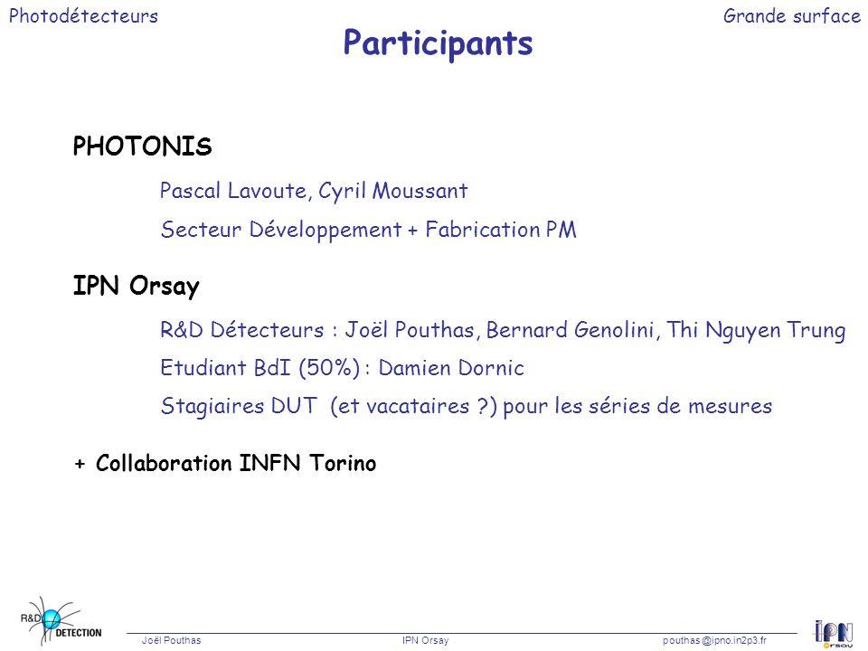 Photodétecteurs Joël Pouthas IPN Orsaypouthas @ipno.in2p3.fr Grande surface Participants PHOTONIS Pascal Lavoute, Cyril Moussant Secteur Développement