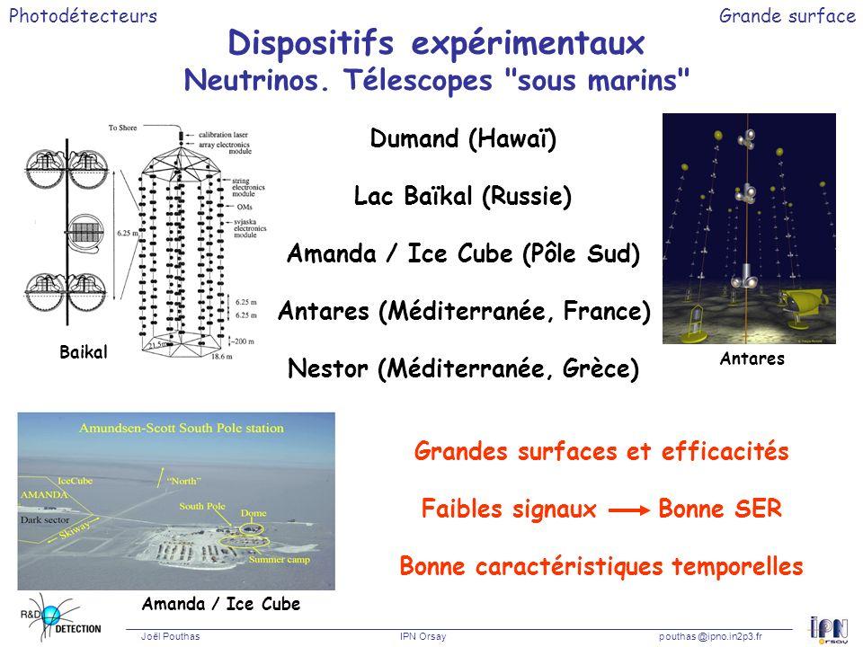 Photodétecteurs Joël Pouthas IPN Orsaypouthas @ipno.in2p3.fr Grande surface Demande financement CNRS / IN2P3 Appel doffres CNRS en Astroparticules « R&D sur les photomultiplicateurs et lélectronique associée » (IPN Orsay, LAL Orsay et PHOTONIS) Demandé en 2004 : 44 kE HT (dont 23 pour les PM) Obtenu (Sept 04) :35 kE HT En 2005 :Annoncé 35 kE HT (dont 13 pour les PM) + Manque 2004 (11 kE) .