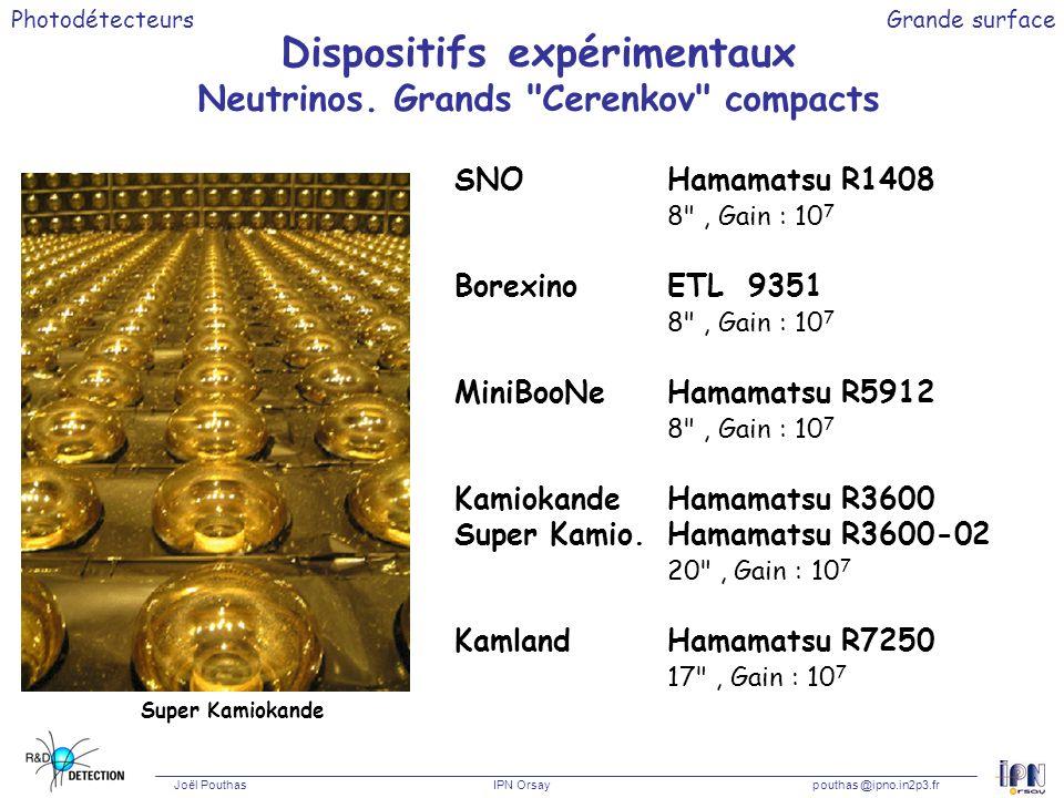 Photodétecteurs Joël Pouthas IPN Orsaypouthas @ipno.in2p3.fr Grande surface Dispositifs expérimentaux Neutrinos. Grands