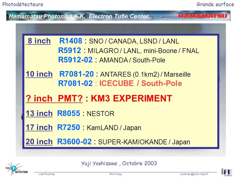 Photodétecteurs Joël Pouthas IPN Orsaypouthas @ipno.in2p3.fr Grande surface 8 inch10 inch 13 inch 20 inch 8 inch R1408 : SNO / CANADA, LSND / LANL R59