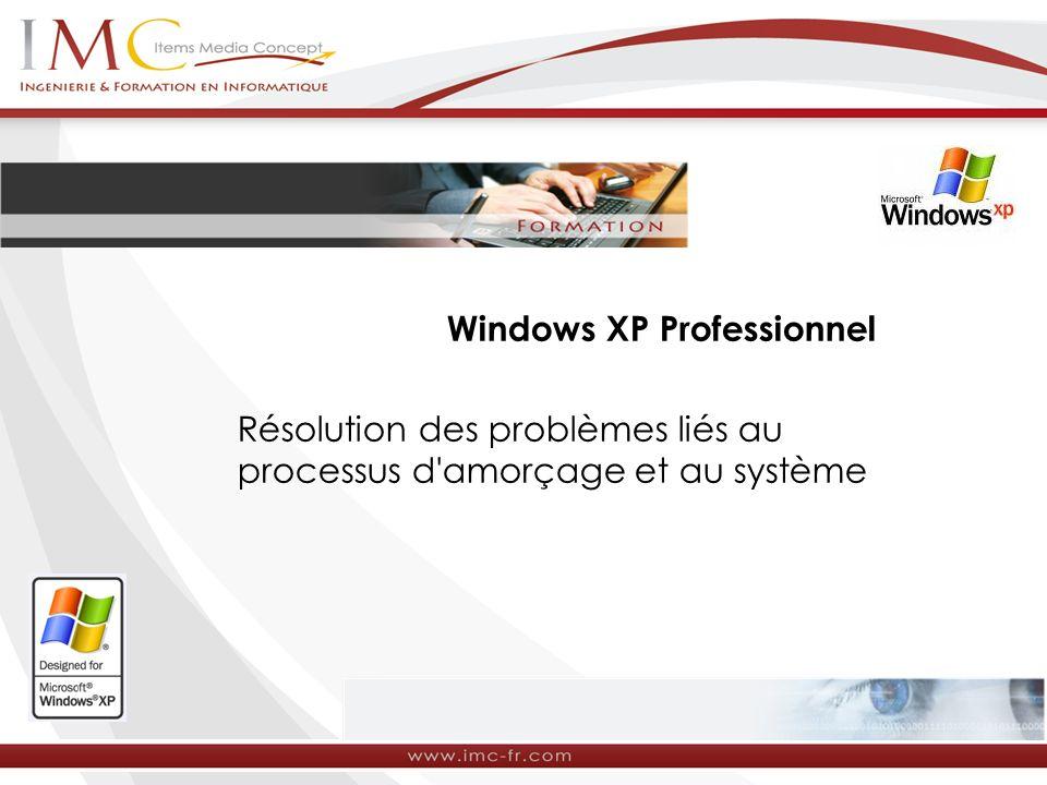 Windows XP Professionnel Résolution des problèmes liés au processus d'amorçage et au système