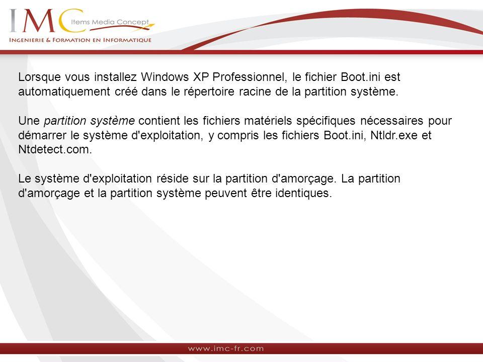 Lorsque vous installez Windows XP Professionnel, le fichier Boot.ini est automatiquement créé dans le répertoire racine de la partition système. Une p