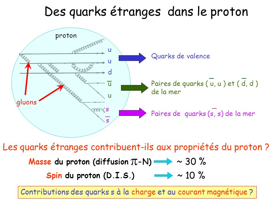 Des quarks étranges dans le proton proton gluons Paires de quarks ( u, u ) et ( d, d ) de la mer u u Paires de quarks (s, s) de la mer s s Quarks de v