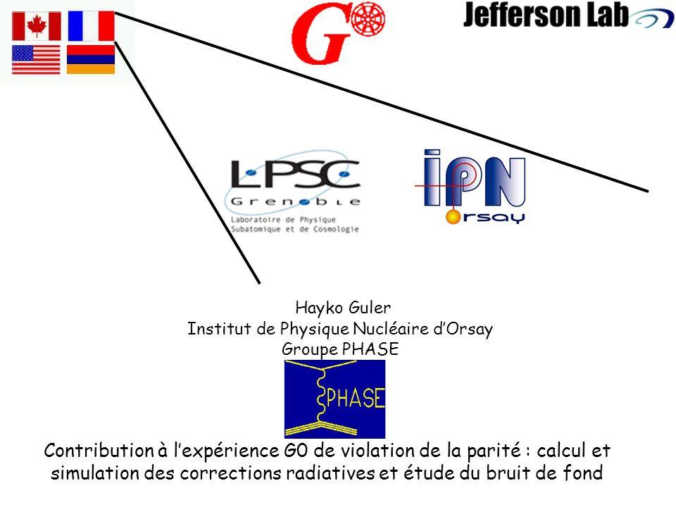 Contribution à lexpérience G0 de violation de la parité : calcul et simulation des corrections radiatives et étude du bruit de fond Hayko Guler Institut de Physique Nucléaire dOrsay Groupe PHASE