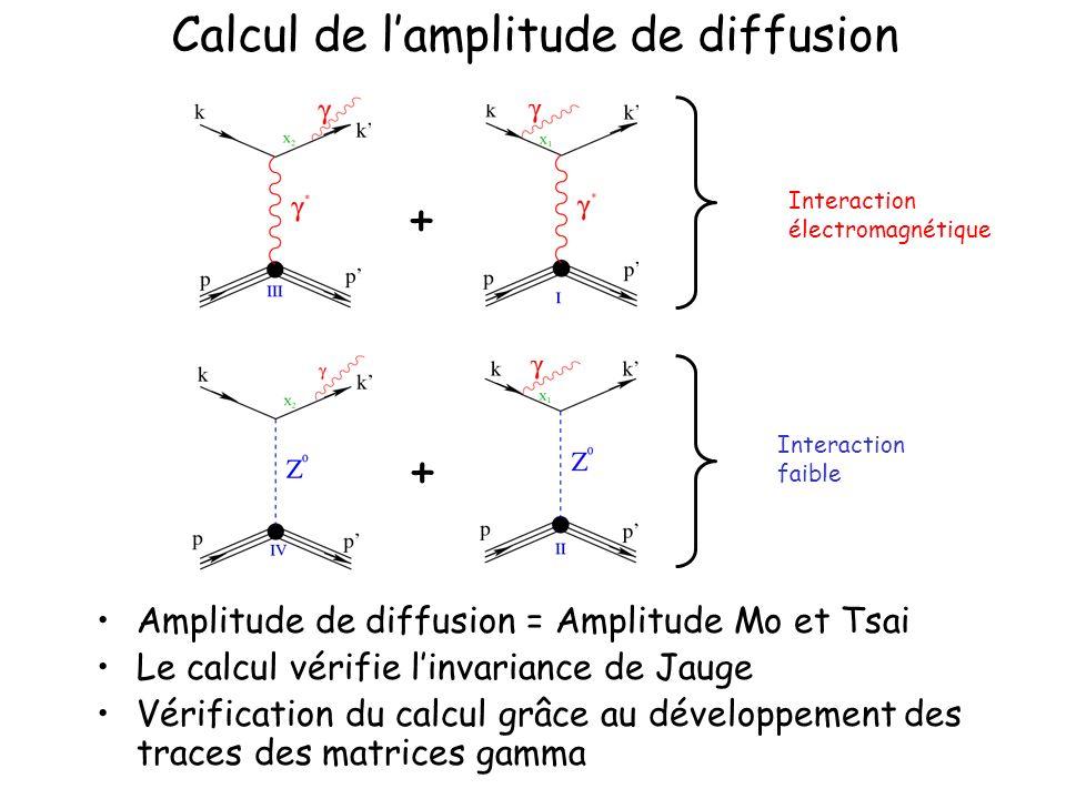 Calcul de lamplitude de diffusion Amplitude de diffusion = Amplitude Mo et Tsai Le calcul vérifie linvariance de Jauge Vérification du calcul grâce au développement des traces des matrices gamma Interaction électromagnétique Interaction faible + +