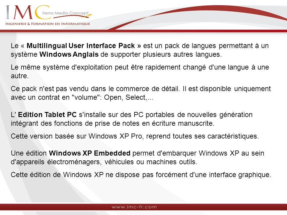 Le « Multilingual User Interface Pack » est un pack de langues permettant à un système Windows Anglais de supporter plusieurs autres langues. Le même