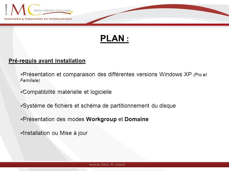 PLAN : Pré-requis avant installation Présentation et comparaison des différentes versions Windows XP (Pro et Familiale) Compatibilité matérielle et lo