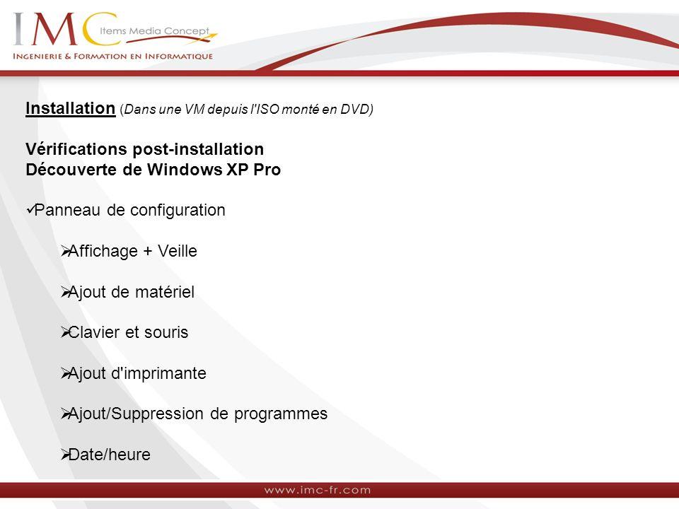 Installation (Dans une VM depuis l'ISO monté en DVD) Vérifications post-installation Découverte de Windows XP Pro Panneau de configuration Affichage +