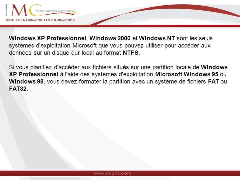 Windows XP Professionnel, Windows 2000 et Windows NT sont les seuls systèmes d'exploitation Microsoft que vous pouvez utiliser pour accéder aux donnée
