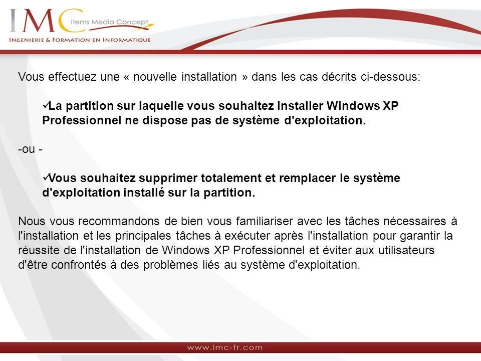 Vous effectuez une « nouvelle installation » dans les cas décrits ci-dessous: La partition sur laquelle vous souhaitez installer Windows XP Profession