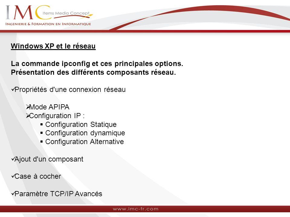 Windows XP et le réseau La commande ipconfig et ces principales options. Présentation des différents composants réseau. Propriétés d'une connexion rés