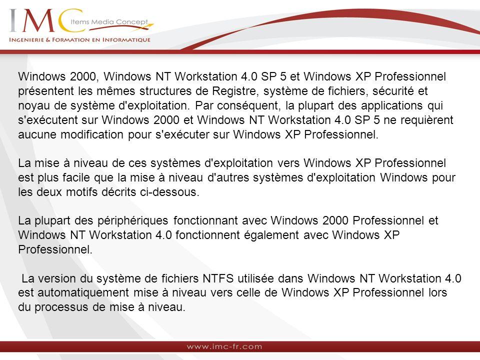 Windows 2000, Windows NT Workstation 4.0 SP 5 et Windows XP Professionnel présentent les mêmes structures de Registre, système de fichiers, sécurité e