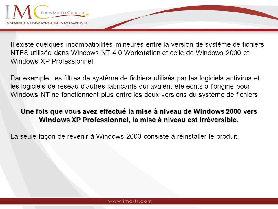 Il existe quelques incompatibilités mineures entre la version de système de fichiers NTFS utilisée dans Windows NT 4.0 Workstation et celle de Windows