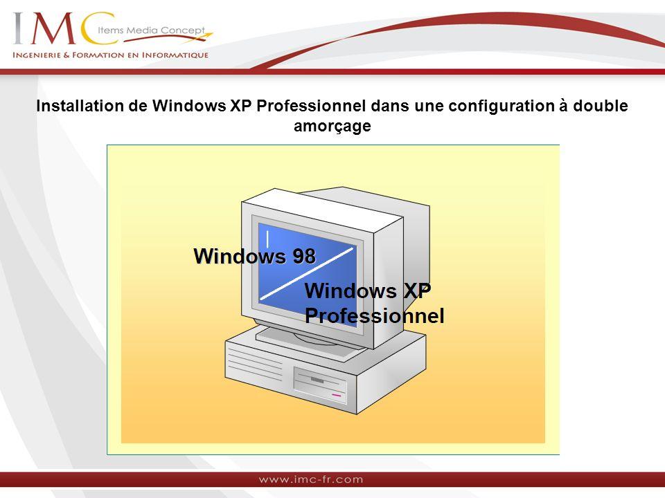 Installation de Windows XP Professionnel dans une configuration à double amorçage