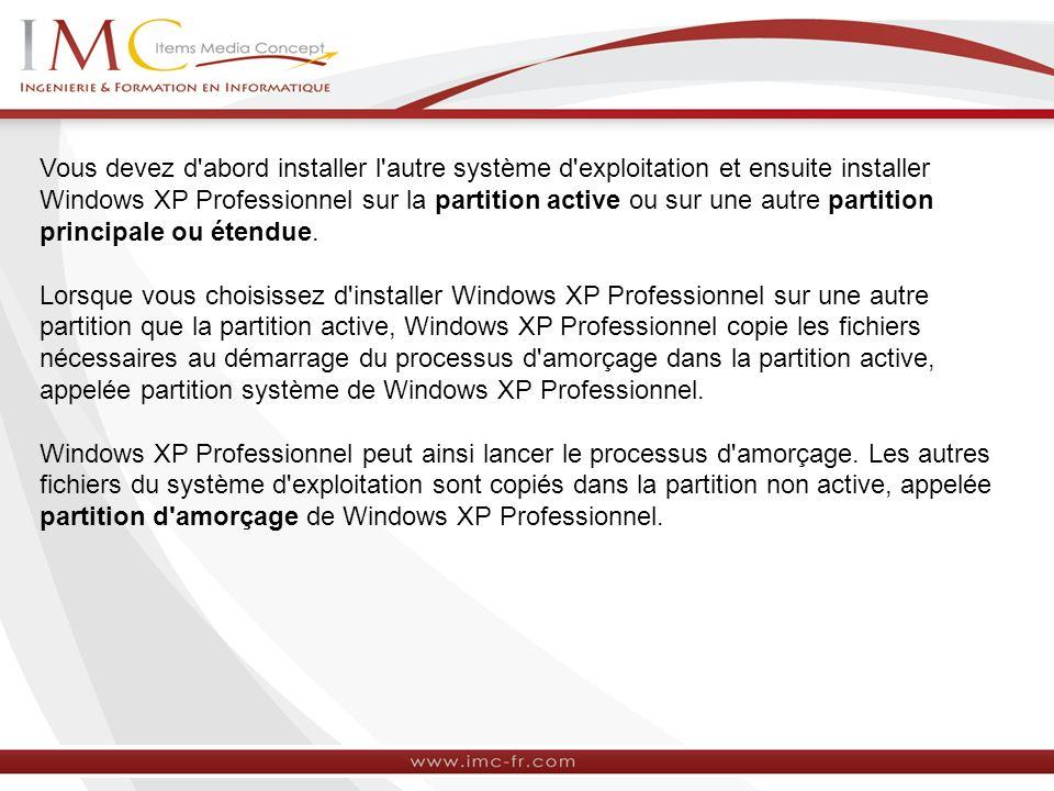 Vous devez d'abord installer l'autre système d'exploitation et ensuite installer Windows XP Professionnel sur la partition active ou sur une autre par