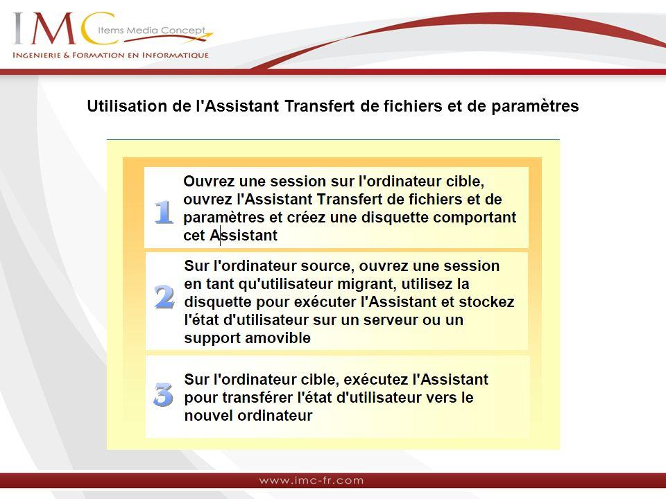 Utilisation de l'Assistant Transfert de fichiers et de paramètres