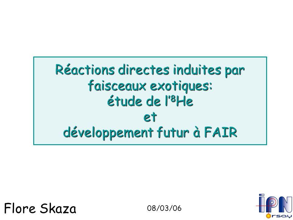 Flore Skaza Réactions directes induites par faisceaux exotiques: étude de l 8 He et développement futur à FAIR 08/03/06
