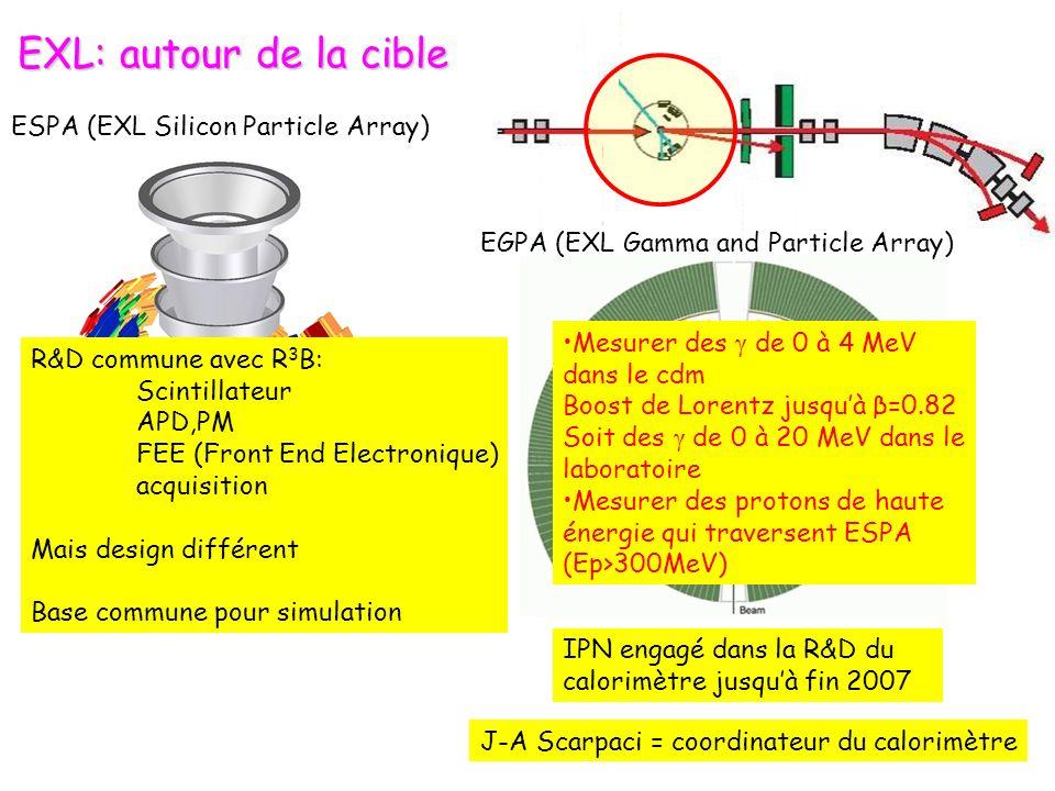 EXL: autour de la cible IPN engagé dans la R&D du calorimètre jusquà fin 2007 J-A Scarpaci = coordinateur du calorimètre ESPA (EXL Silicon Particle Array) EGPA (EXL Gamma and Particle Array) R&D commune avec R 3 B: Scintillateur APD,PM FEE (Front End Electronique) acquisition Mais design différent Base commune pour simulation Mesurer des γ de 0 à 4 MeV dans le cdm Boost de Lorentz jusquà β=0.82 Soit des γ de 0 à 20 MeV dans le laboratoire Mesurer des protons de haute énergie qui traversent ESPA (Ep>300MeV)