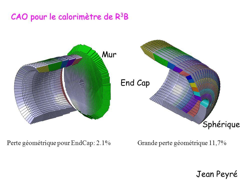 Jean Peyré CAO pour le calorimètre de R 3 B Grande perte géométrique 11,7%Perte géométrique pour EndCap: 2.1% End Cap Sphérique Mur