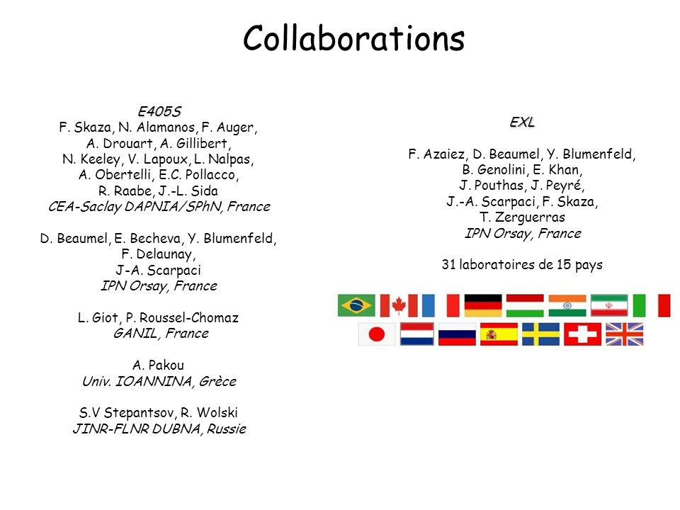 Collaborations EXL F. Azaiez, D. Beaumel, Y. Blumenfeld, B.