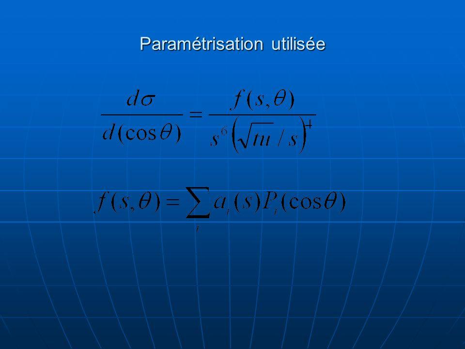 Paramétrisation utilisée