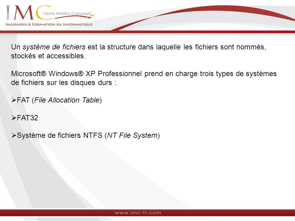 Utilisation du système de fichiers NTFS avec Windows NT 4.0 et Windows XP Professionnel Lorsque vous procédez à une mise à niveau de Windows NT 4.0 vers Windows XP Professionnel, tous les volumes NTFS qui ont été formatés en utilisant Windows NT 4.0 sont mis à niveau vers la nouvelle version du système de fichiers NTFS.