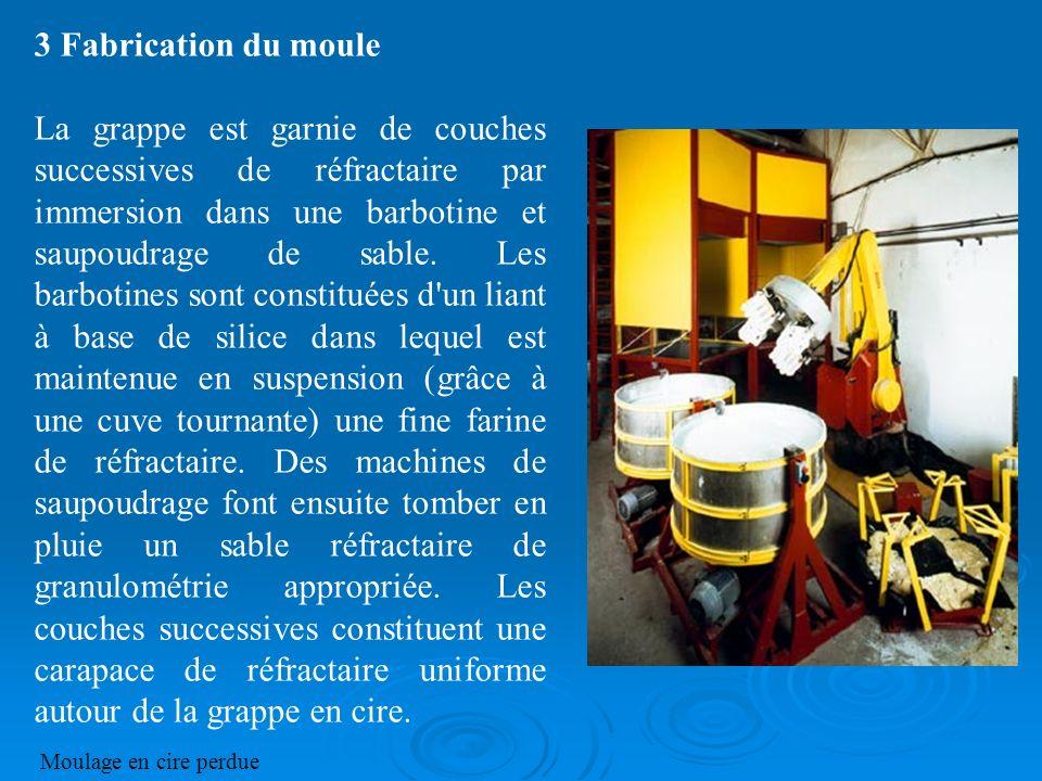 3 Fabrication du moule La grappe est garnie de couches successives de réfractaire par immersion dans une barbotine et saupoudrage de sable. Les barbot