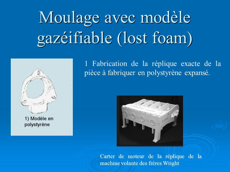 Moulage avec modèle gazéifiable (lost foam) 1 Fabrication de la réplique exacte de la pièce à fabriquer en polystyrène expansé. Carter de moteur de la